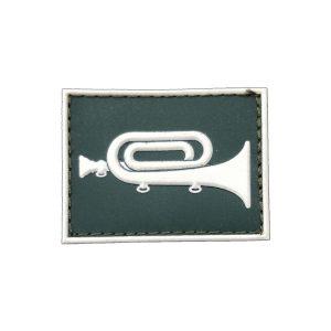 Corneteiro Gola Exército emborrachado verde com branco
